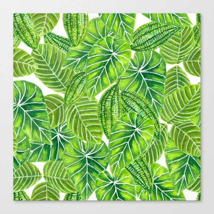 Watercolor Tropical Leaves Pattern Design Canvas Print By Katerinamitkova Society6