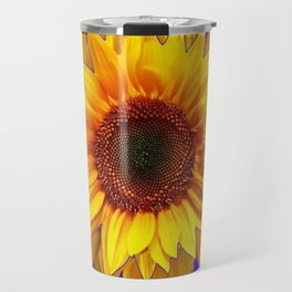 Blue-Chartreuse Yellow Sunflower Floral Design Travel Mug