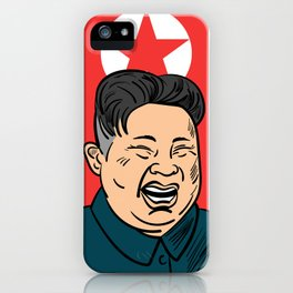 Hand drawn portrait of the smilling leader of North Korea Kim Jong-un. iPhone Case