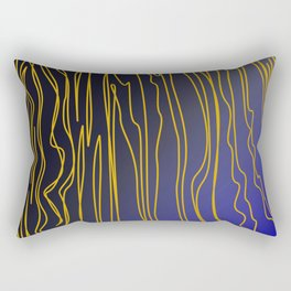 Wild design exotic lines - blue, gold Rectangular Pillow