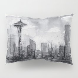 Seattle Skyline Painting Watercolor Black and White Space Needle Pillow Sham