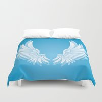 angel wings Duvet Covers featuring wings by Li-Bro