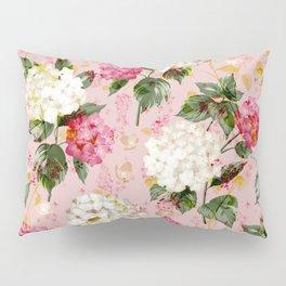 Vintage green pink white bohemian hortensia flowers Pillow Sham