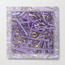 PURPLE KINDLING AND GLOWING EMBERS ABSTRACT Metal Print