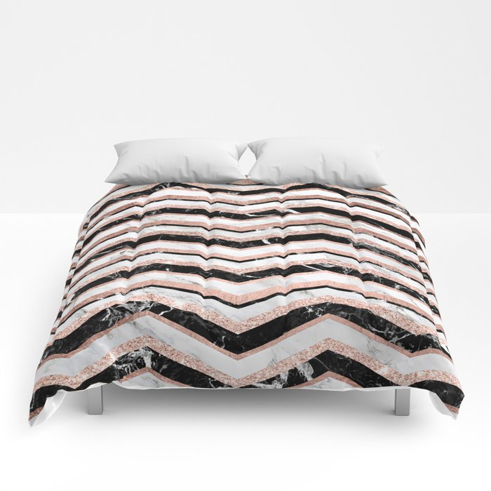 Modern trendy faux rose gold black white marble chevron for Black and white marble bedding