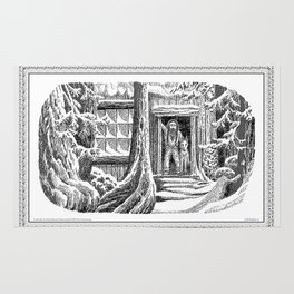 SNOWED IN MOUNTAIN MAN AND WOLF VINTAGE PEN DRAWING Rug
