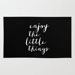 Enjoy the Little Things black and white typography poster black-white design wall art home decor Rug