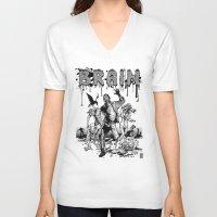 brain V-neck T-shirts featuring Brain by Christian G. Marra