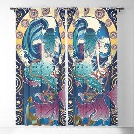 Blue Mermaid with anchor art nouveau design Blackout Curtain