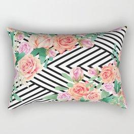 Vintage pink coral watercolor roses black white stripe pattern Rectangular Pillow