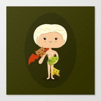 mother of dragons Canvas Prints featuring Dragons' Mother by Sombras Blancas Art & Design
