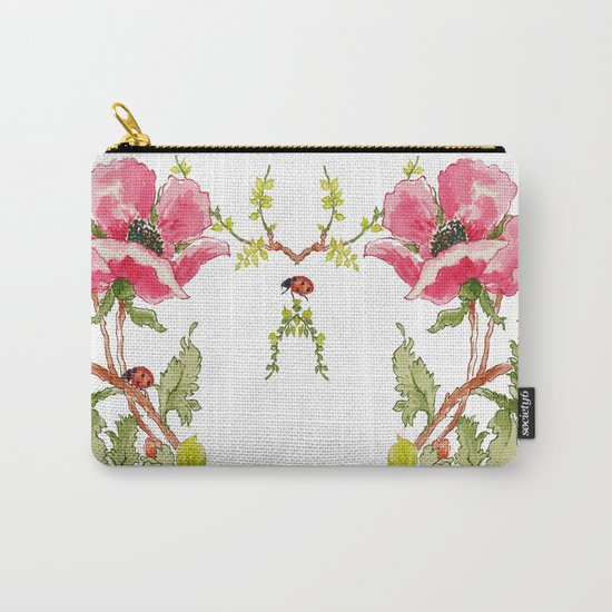 The Poppy and the Ladybug floral Carry-All Pouch