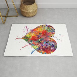 Heart Art Love Gift Watercolor Art Valentine's Day Gift Wedding Gift Engagement Gift Rug