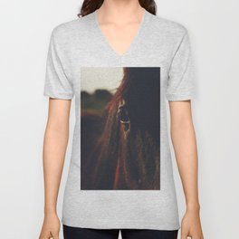 Horse photography, high quality, nature landscape fine art print Unisex V-Neck