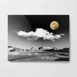 Black Desert Sky & Golden Moon // Red Rock Canyon Las Vegas Mojave Lune Celestial Mountain Range Metal Print