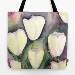White Tulips at night Tote Bag