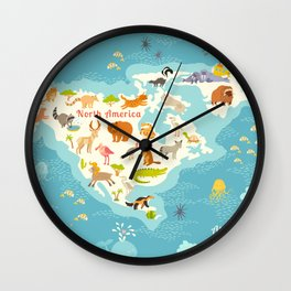 Animals world map, North America. Colorful cartoon vector illustration for children and kids. Presch Wall Clock