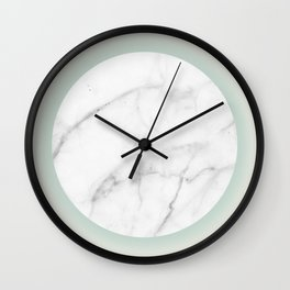 White Marble Circle Pastel Yellow Green Gradient Wall Clock