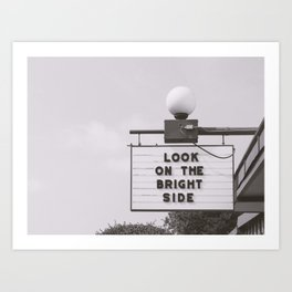 Black and white look on the bright side marquee sign, Austin Motel, Austin, Texas Art Print
