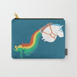 Fat Unicorn on Rainbow Jetpack Carry-All Pouch