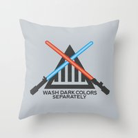 jedi Throw Pillows featuring Jedi Care Instructions by John Tibbott