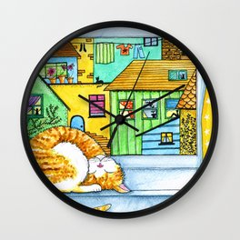 Ginger & White Cat at the Window Wall Clock