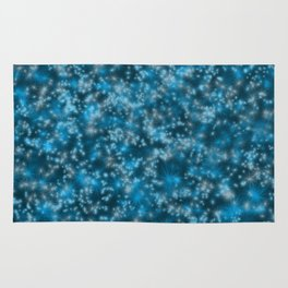 Turquoise Blue Field of Stars Rug