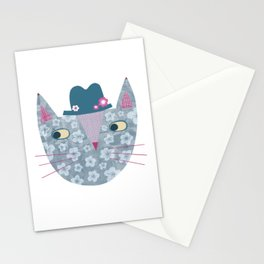 Flowery Cat in a Flowery Hat Stationery Cards