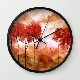 Burning Promise, Abstract Landscape Art Wall Clock