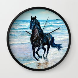 Seascape with black horse Wall Clock