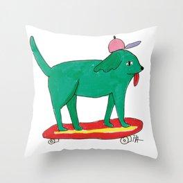 Skater Dog Throw Pillow