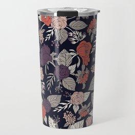 Purple, Gray, Navy Blue & Coral Floral/Botanical Pattern Travel Mug