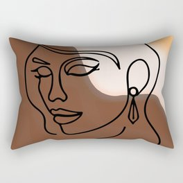 Face Line Art and Abstract sunset and Mountains Printable Art, Woman Face Line Drawing, Boho Decor Rectangular Pillow