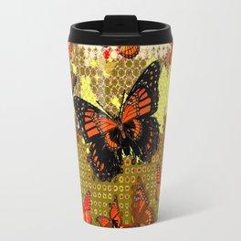 Coffee Brown Abstracted Black & Orange Monarch Butterflies Travel Mug