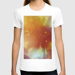 Sky, palm trees, sunset, sun glare T-shirt
