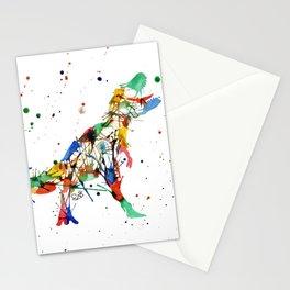 Rainbow Splatter T-Rex Stationery Cards