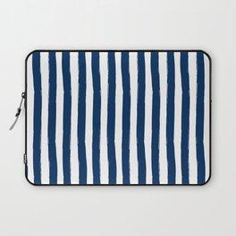 Navy and White Cabana Stripes Palm Beach Preppy Laptop Sleeve