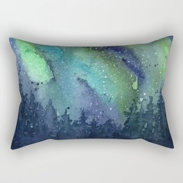 Galaxy Aurora Northern Lights Nebula Space Watercolor Rectangular Pillow