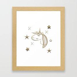 Magical Gold Unicorn Framed Art Print