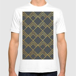Diamond Art Deco; - Black & Gold T-shirt