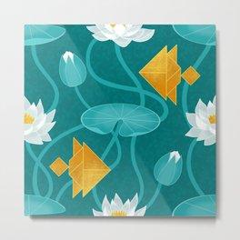 Tangram goldfish and water lillies Metal Print