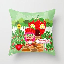 Strawberry Girl Throw Pillow