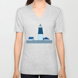 Lighthouse Illustration Beach Decor Ocean Blue Unisex V-Neck