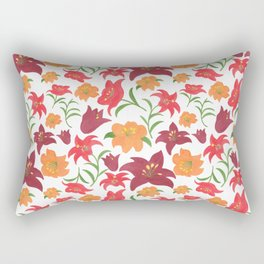 The Lilies in Red Rectangular Pillow