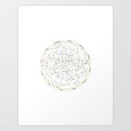 Star Chart of the Northern Hemisphere White Art Print