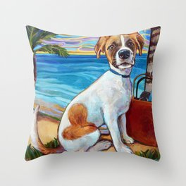 Beach Dog in Aruba Throw Pillow