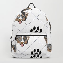 Australian Shepherd Paw Print Pattern Backpack