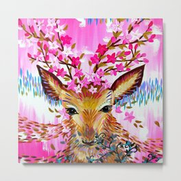 Deer in Fresh Pink Metal Print