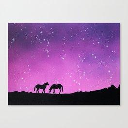 Horses Silhouette Canvas Print