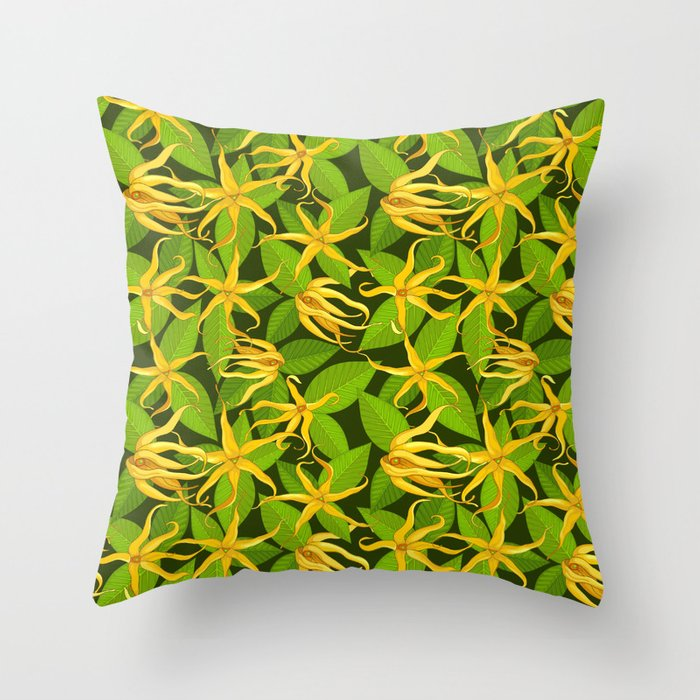 Ylang Ylang Exotic Scented Flowers and Leaves Pattern Throw Pillow